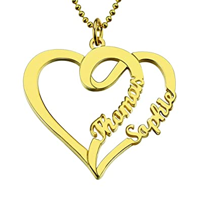 83017afe3e Couple's Name Necklace Personalized Heart Pendant Necklace Sterling Silver  2 Name Valentine's Day Gift (18K