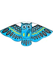 FUNCOCO Owl Kite, Easy Flyer Kite for Kids - Easy to Assemble, Launch, Fly- Perfect for Beach or Park by Hengda Kite( Blue)