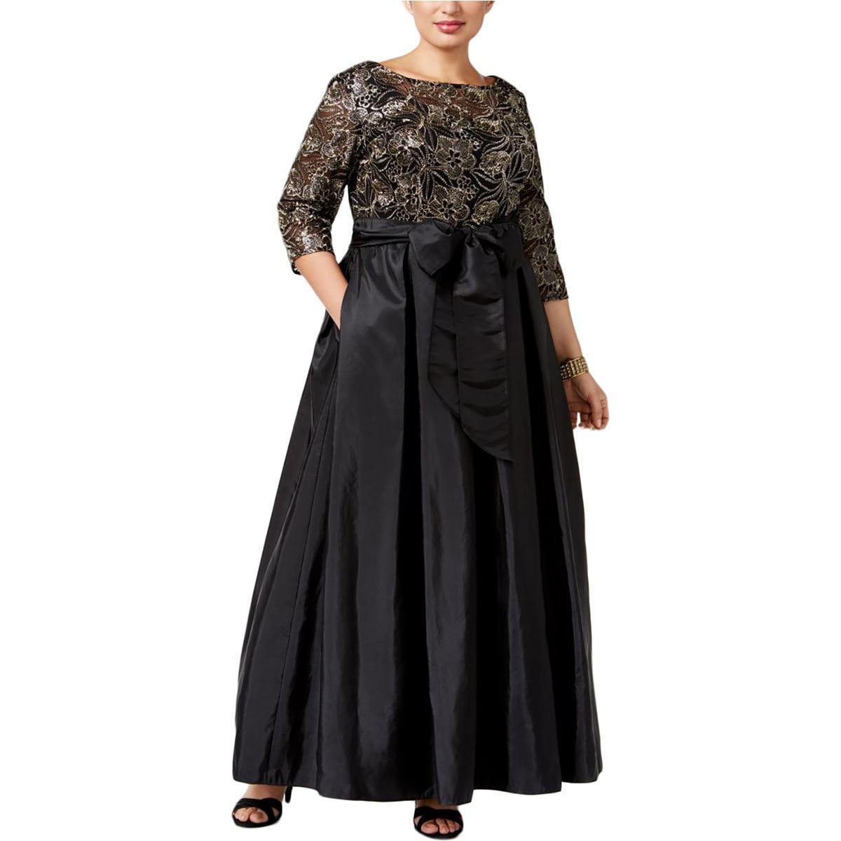 Alex Evenings Women's Plus Size Line Ballgown Evening Dress, Black/Gold, 16W