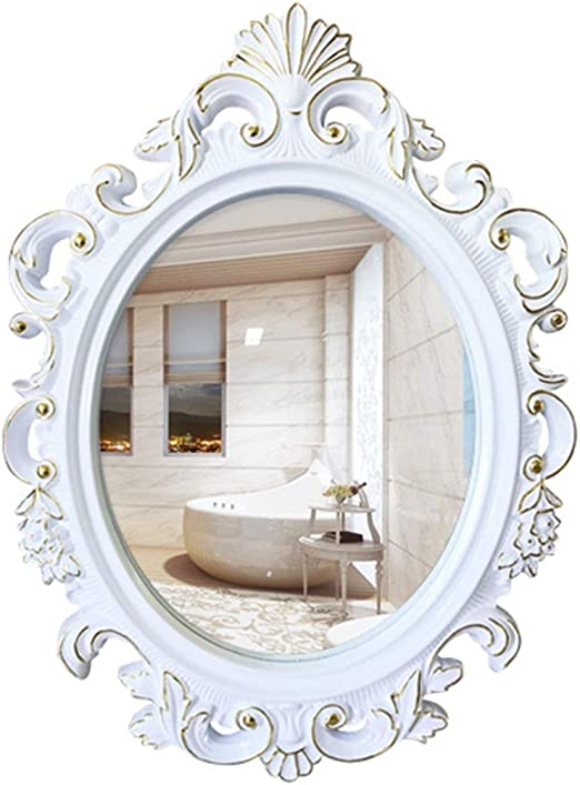 Amazon Com Mirrors Mirror Antique Mirror European Oval Bathroom Mirror Bathroom Mirror Vanity Mirror Art Mirror Decoration Bathroom Mirror Color White Size 5474cm Home Kitchen