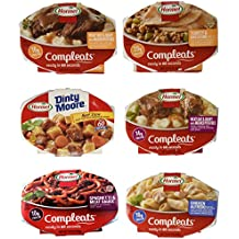 Hormel Compleats Meals - Variety Flavors (6 Count - 7.5 to 10 Ounce Microwavable Bowls) - Beef Stew, Meatloaf, Roast Beef, Spaghetti, Chicken Alfredo, Turkey Dressing