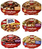 Variety Box consists of 6 different flavors, 1 unit each of Hormel Compleats Microwavable Bowls. Flavors include Hormel Beef Stews (9 ounce), Hormel Meatloaf & Gravy with Mashed Potatoes (9 ounce), Hormel Roast Beef & Gravy with Mashe...