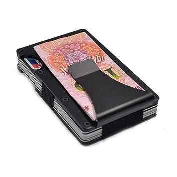 Cartera delgada de aluminio, minimalista de fibra de carbono, soporte delgado para tarjetas,