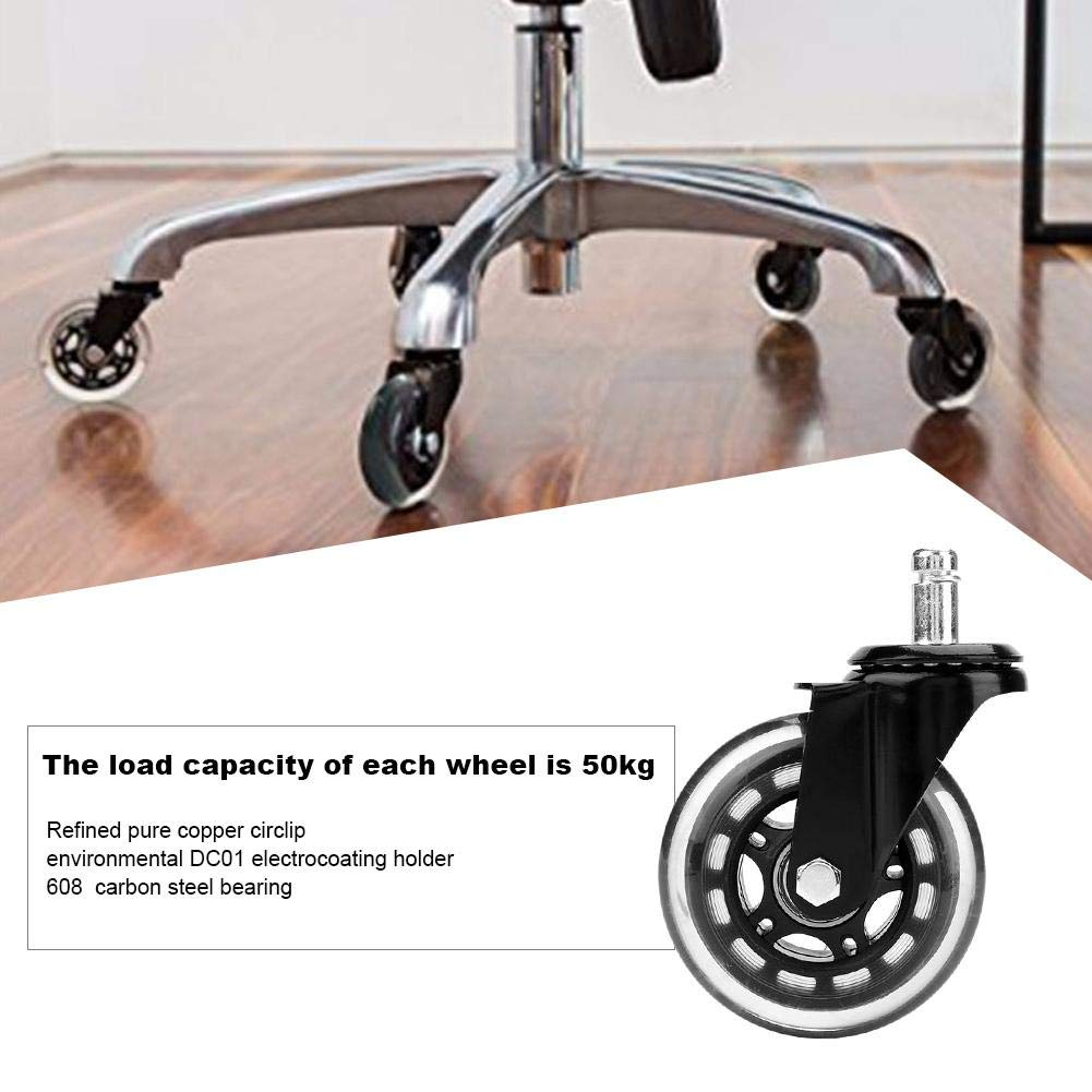 Furniture Casters Wheels Universal Mute Wheel Replacement Office Chair Wheels 5 pcs 3Inch Circlip Electrophoresis Shanbor Office Chair Caster