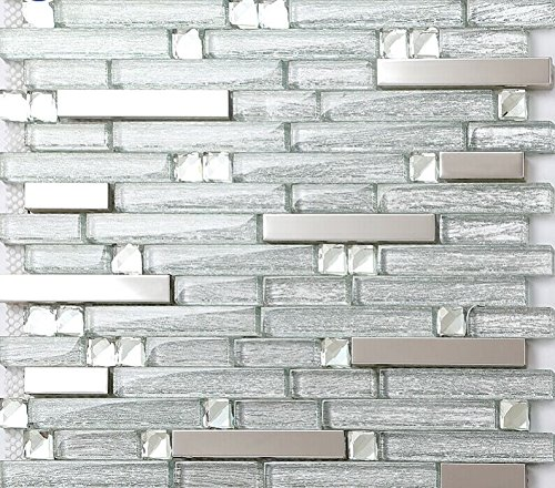 Silver Stainless Steel Tile and Glass Blend Mosaic Diamond Crystal Laminated Glass Backsplash Tiles Random Brick Pattern (1 Sample (Approx. 3 x 6 Inches))