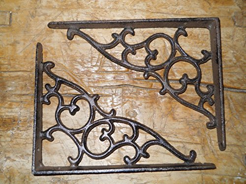 12 Cast Iron Antique Style SM Leave & Vine Brackets Garden Braces Shelf Bracket , Garden Braces Shelf Bracket , Garden Braces Shelf Bracket RUSTIC , Wall Brackets Shelf Support for Storage by New