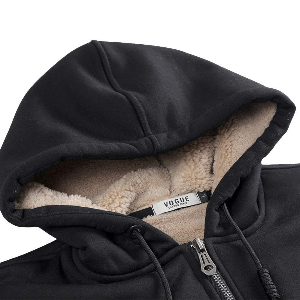 Real Spark Men's Winter Fleece Hoodie Jacket & Jog Pants Set Casual Running Tracksuit Black L by Real Spark (Image #3)