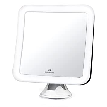 Fancii 7X Magnifying LED Lighted Makeup Mirror With Locking Suction Cup    Natural Daylight LED,