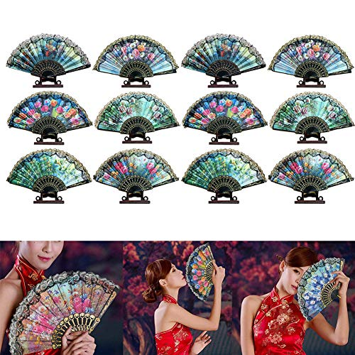 VintageBee 12 Pack Spanish Floral Folding Hand Held Fan Flowers Pattern Lace Handheld Chinese Japanese Vintage Fabric Fans Wedding Dancing Church Party Gifts
