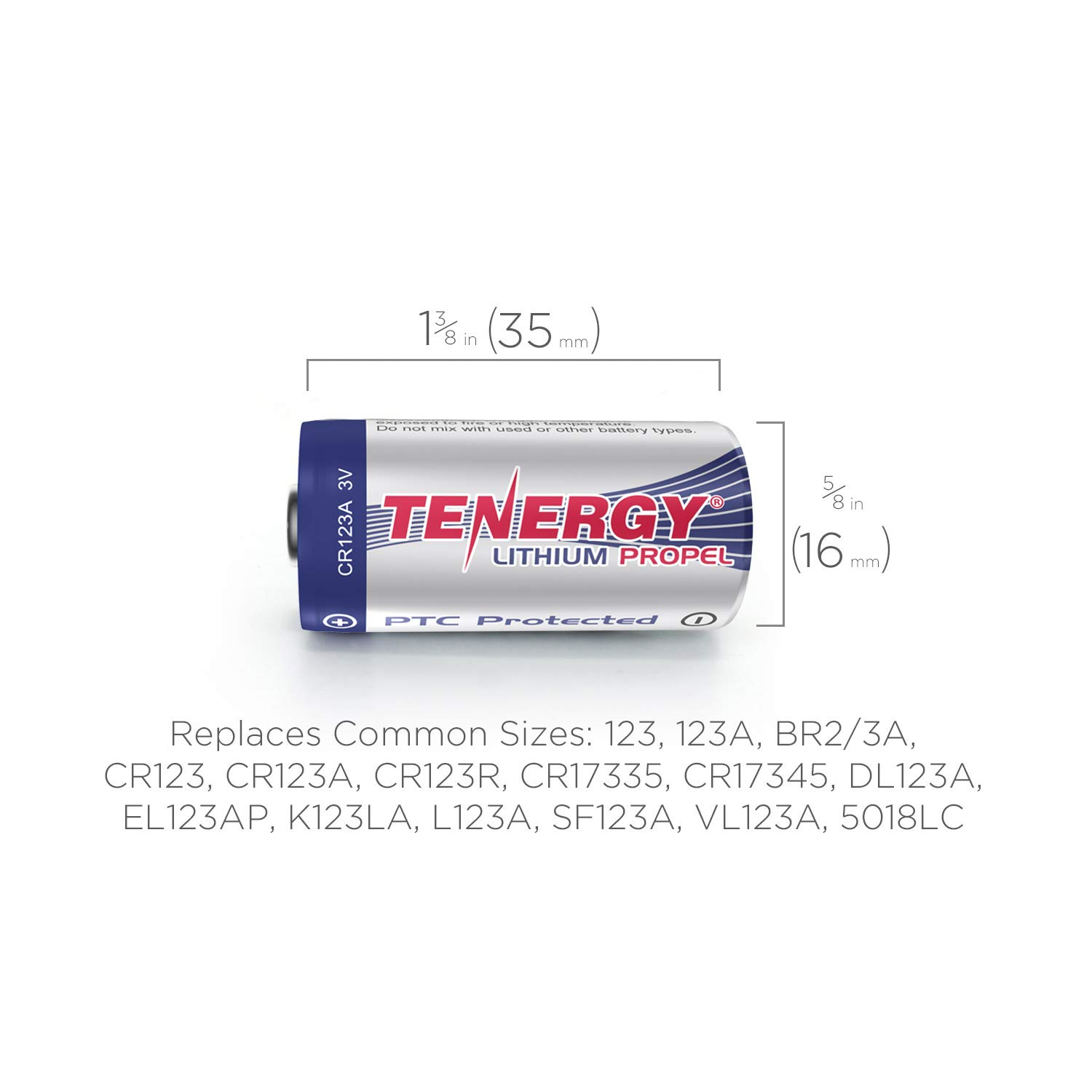 Tenergy Propel 1500mAh 3V CR123A Lithium Battery, High Performance CR123A Cell Batteries PTC Protected for Cameras, Flashlight Replacement CR123A Batteries, 40-Pack by Tenergy (Image #5)