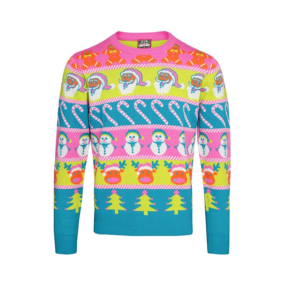 SNOWMAN FACE T Shirt Christmas Xmas Unisex Man Lady Funny Santa jumper neon