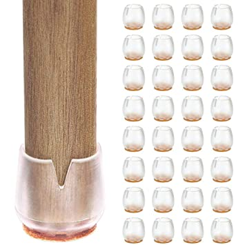 MyMei 32pcs Chair Feet Caps Anti-Scratch Table Feet Pads Non-Slip Felt Wood Floor Protect Set