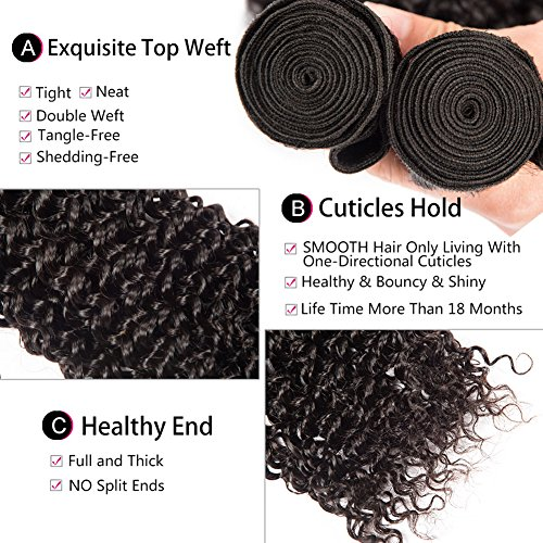 Shireen 10A Brazilian Curly Hair Weave 3 Bundles (20 22 24,300g) Virgin Kinky Curly Human Hair Weave 100% Unprocessed Hair Weft Extensions Natural Black Color by Shireen Hair (Image #6)