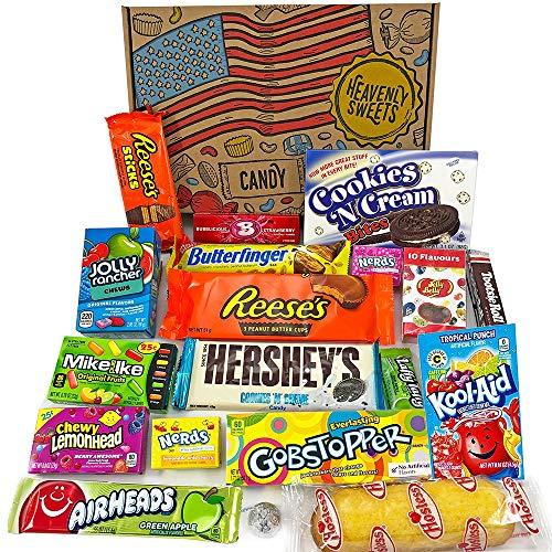 Amerikanische Süßigkeiten Geschenkkorb von Heavenly Sweets | Süßigkeiten aus den USA | Auswahl beinhaltet Jolly Rancher, Hersheys, Reeses, Jelly Belly | 19 Produkte in einer tollen retro Geschenkebox