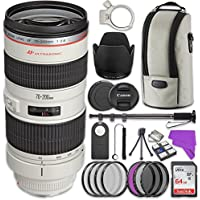 Canon EF 70-200mm f/2.8L USM Lens Bundle with Accessory Kit (17 items)