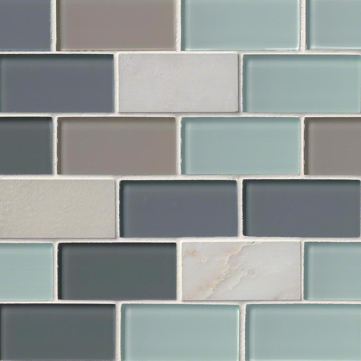 M S International Glacier Peak Subway 12 In. X 12 In. X 8mm Glass Stone Mesh-Mounted Mosaic Tile, (10 sq. ft., 10 pieces per case)