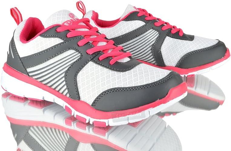 Spalding - Zapatillas para Mujer Blanco Blanco/Rosa: Amazon.es: Zapatos y complementos
