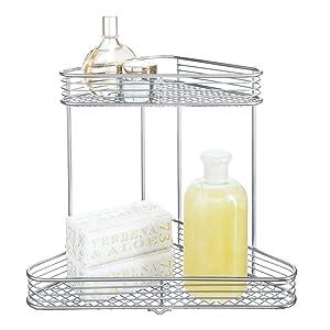 iDesign Vienna 2-Tier Corner Shelf for Cosmetics and Toiletry Storage, Bathroom, Countertop, Desk, and Vanity - Silver