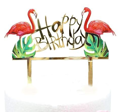 Flamingos Joyeux Anniversaire Gateau Acrylique Flamants Roses