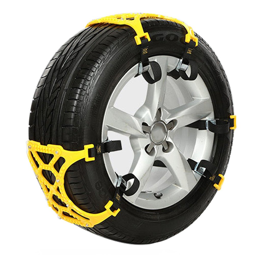 3 PCS Snow Chain Car SUV Truck Universal Tire Anti-Skid Chains Emergency Tyre Security Belt for Winter Ice Road (Yellow) Aneil