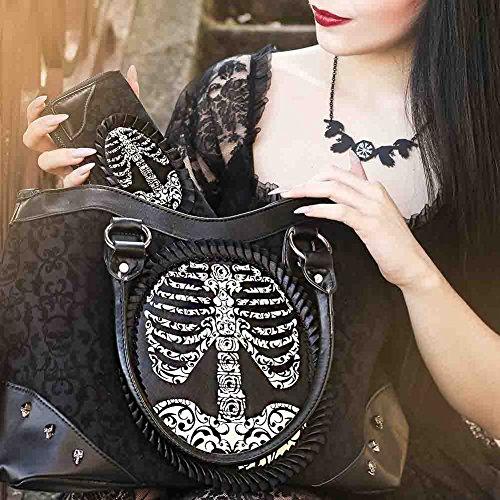 """BANNED Rockwear Tartan Handtasche """"Brustkorb Aufdruck -Skelett"""