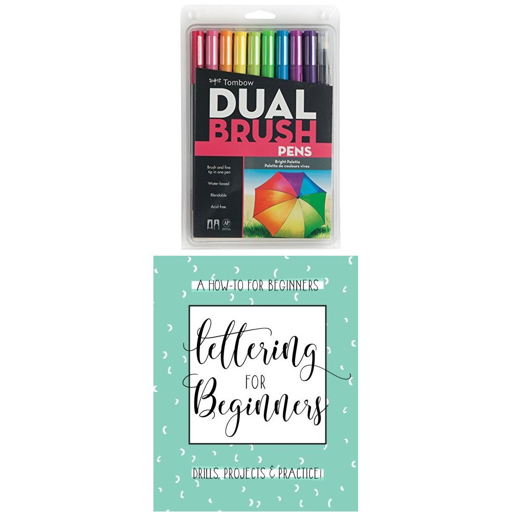 Tombow Dual Brush Pen Art Markers, Bright, 10-Pack plus Lettering For Beginners: A Creative Lettering How To Guide With Alphabet Guides, Projects And Practice Pages