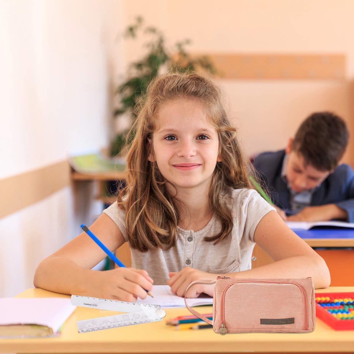 /étudiante Trousse Plumier Grande Trousse /à Crayons Rose Durable pour /école Bureau avec 1 R/ègle Pliable en Plastique 30 cm Adulte