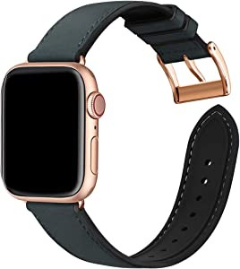 Bestig Compatible with Apple Watch Bands,Waterproof Genuine Leather and Silicone Hybrid Strap for iwach SE Series 6 5 4 3 2 1,Sports Edition (Black Band+Rosegold Connector,38mm 40mmm)[Upgraded]