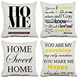 quilted picture board - Set of 4 Home Throw Pillow Covers Cotton Linen Square 16 x 16 Inch Cushion Covers Quote Home Pillowcases for Sofa Couch Home Decor