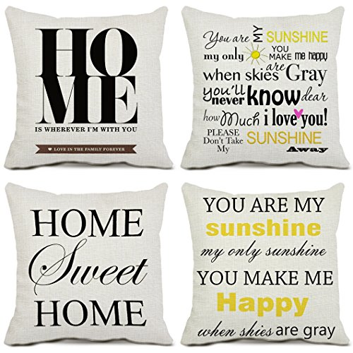 Set of 4 Home Throw Pillow Covers Cotton Linen Square 16 x 16 Inch Cushion Covers Quote Home Pillowcases for Sofa Couch Home - Designer In Jersey New Outlets