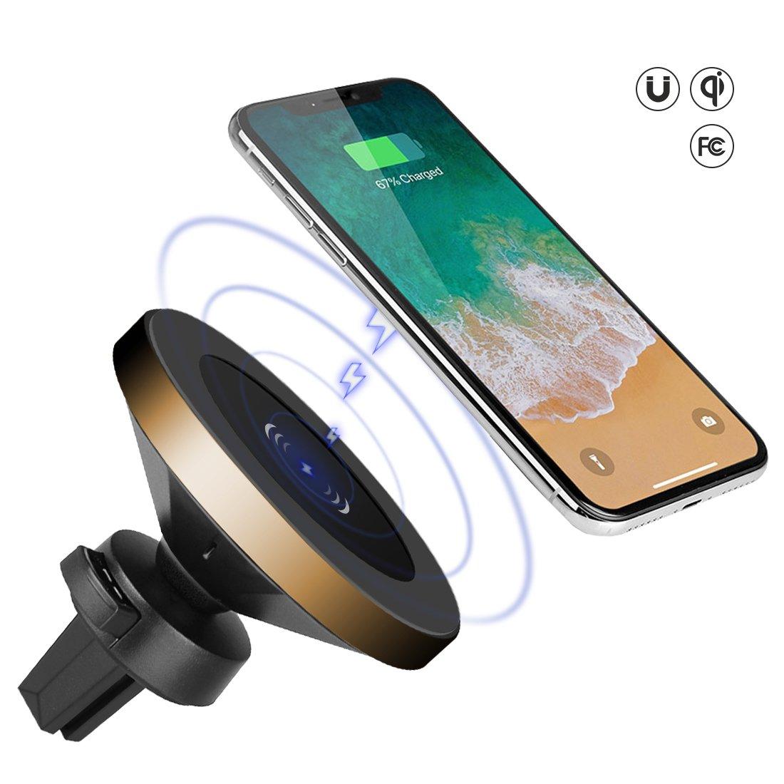 Gineeワイヤレス車充電器マウントIphone X、8,8plus ; Samsung Galaxy s8 s8 Plus、s7 Edge、s6、note8、note7、note5、車用の磁気ワイヤレス充電器、Qiデバイス B07BWG2JVF