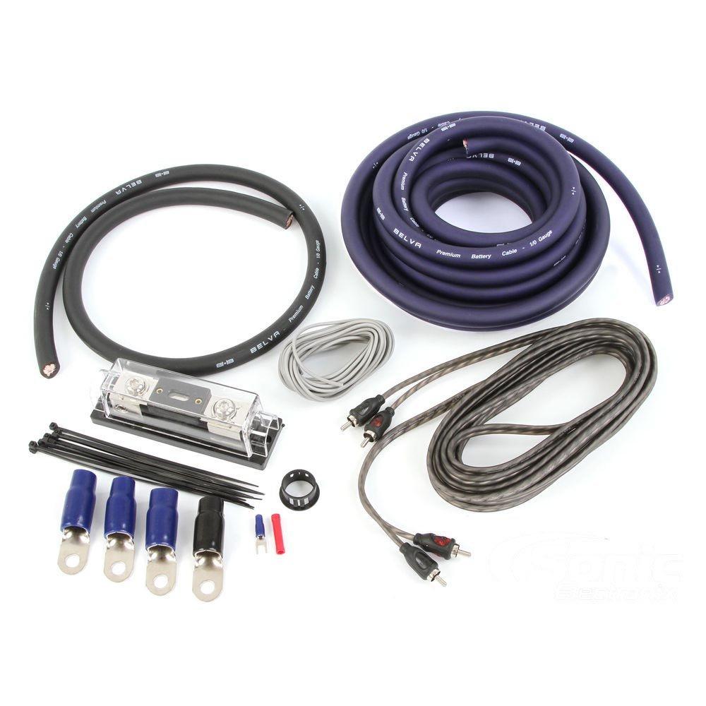 BLUE Belva Complete 1//0 Gauge Copper-Clad Amplifier Wiring Kit with 2-Channel RCA Interconnects BAK02BL