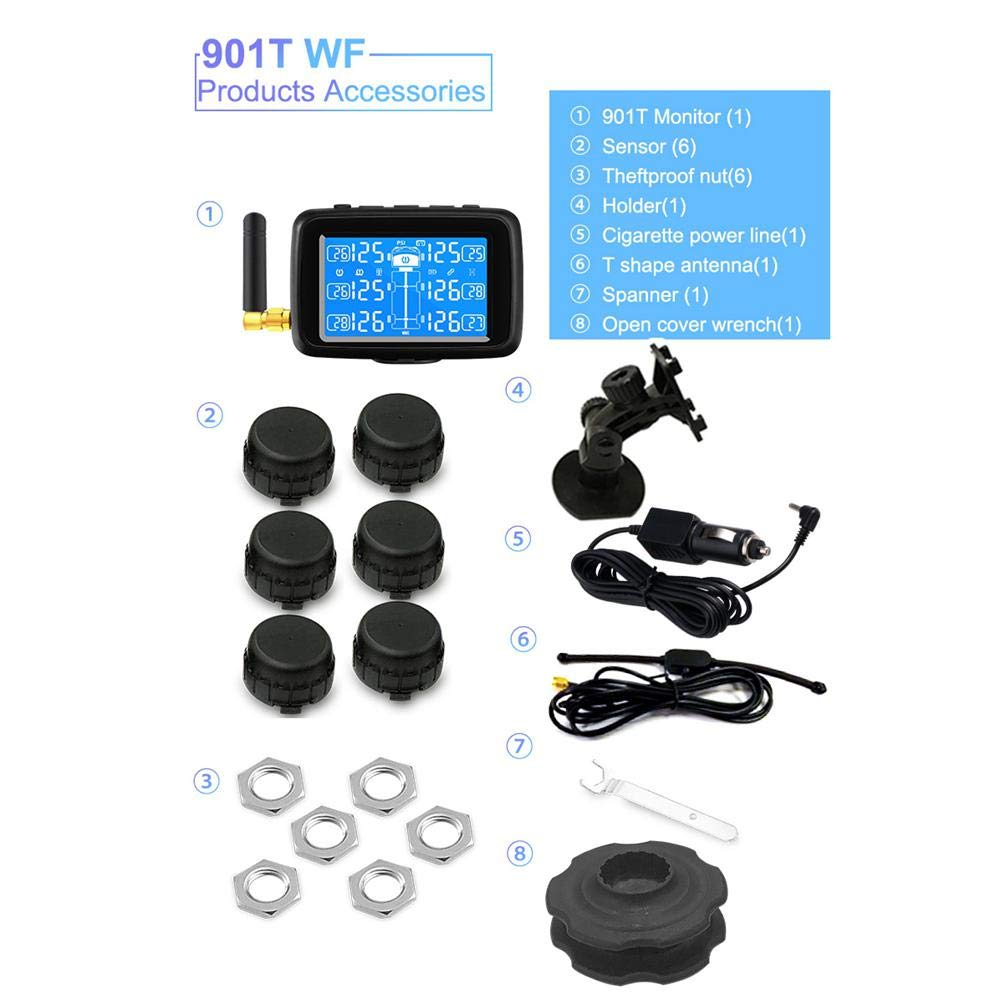 Dokfin Solar Tire Pressure Monitoring System, Wireless TPMS Monitor with 6 External Sensors (0-8.0 Bar/ 0-116 Psi), Temperature & Pressure LCD Display, Real-Time Alarm for Car RV Truck Trailer
