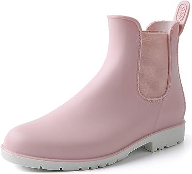 Botas de Lluvia Mujer Impermeable Goma Botas de Agua Antideslizante Jardín Trabajo Tobillo Chelsea Boots Cortas PVC Botines: Amazon.es: Zapatos y complementos