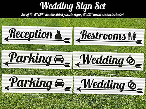 Visibility Signage Experts Wedding 6 Pack of Grey and White Striped with Black Writing 6x24 Lawn Signs with H-stakes- Use for Wedding, Parking, Restrooms, and Reception