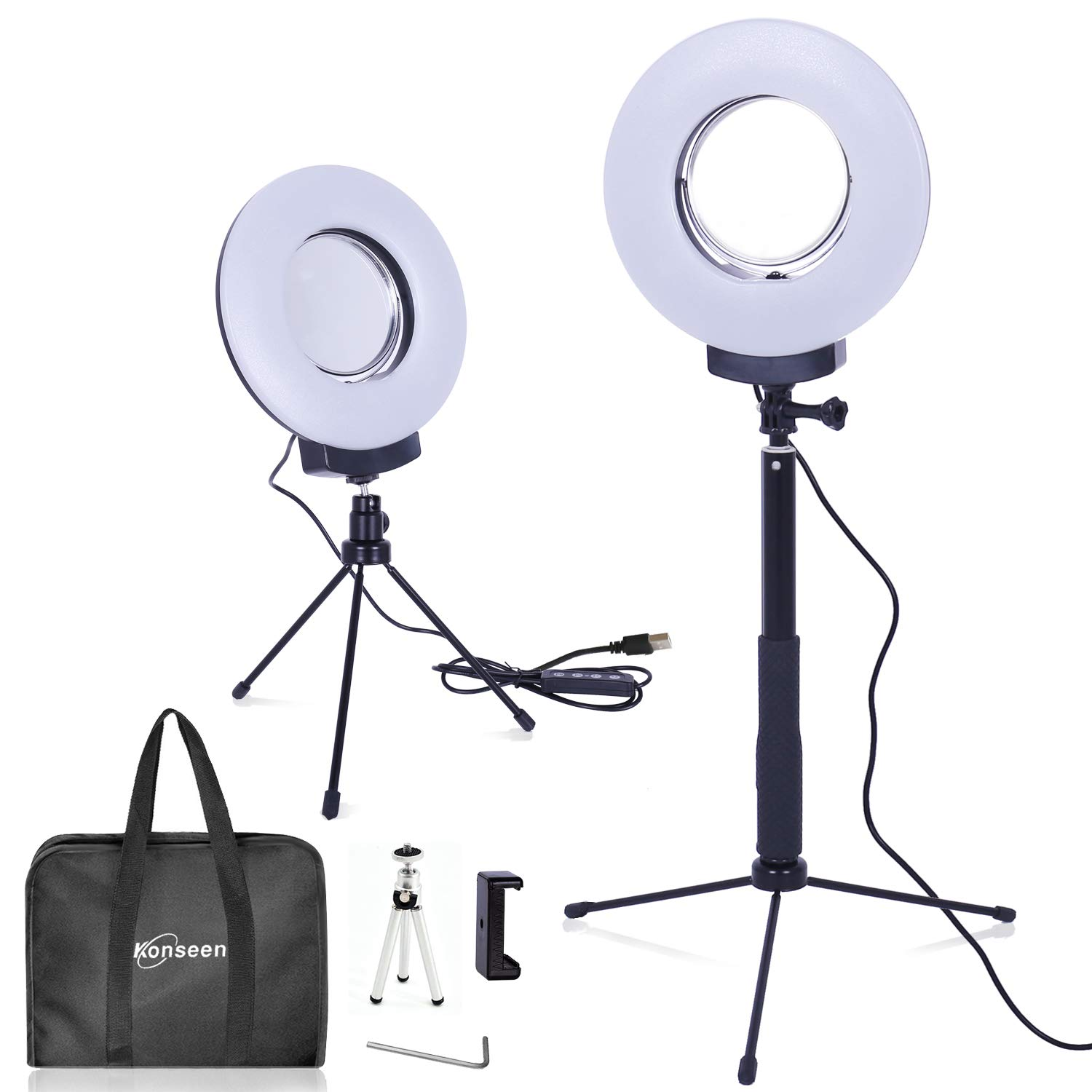 8'' Dimmable Ring Light Selfie Live Stream Continuous Output Lighting&Adjust Stick Stand&4'' Mirror&Phone Holder for Makeup Photography LED Ring Lamp Outdoor Camera Photo Video 3 Color Lighting Mode Kit