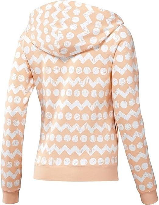 adidas NEO Women/'s Cotton Printed Full Zip Hooded Jacket Hoodie Peach//White