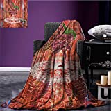 Animal Custom blanket Ethnic Elephant Dancing Rocking the Dance Floor with its Meditating Moves Print all weather blanket Multicolor size:60''x80''