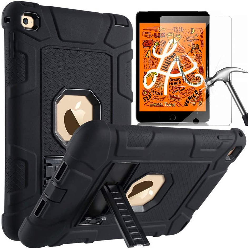 iPad Mini 4 Kids Case iPad Mini 5 2019 Case L00KLY Three Layer Hybrid Heavy Duty Rugged Shockproof Anti-Slip Defender Armor Full-body Protective Case with Kickstand for Apple iPad Mini 5 2019 // iPad Mini 4 2015 iPad Mini 5 Case With HD Screen Protector