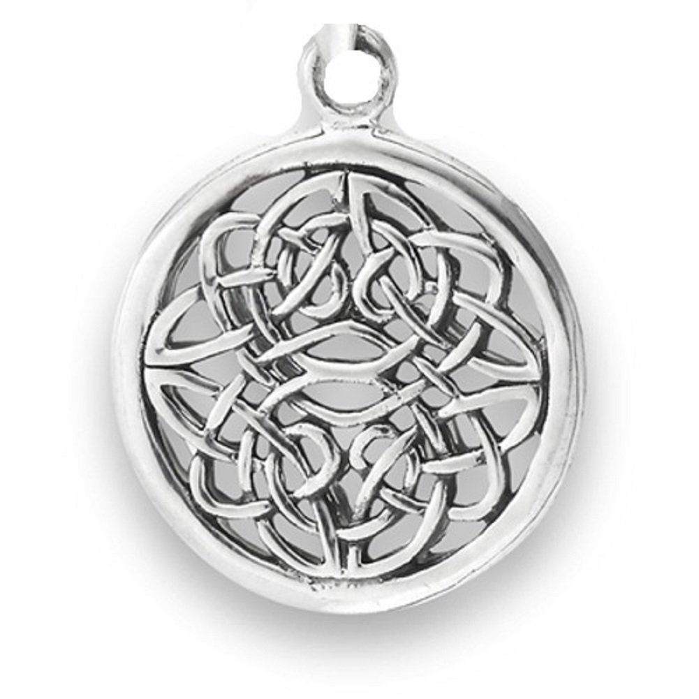 Sterling Silver Girls .8mm Box Chain Round Circular Open Weave Unending Celtic Knot Pendant Necklace