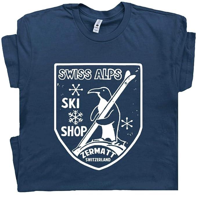 Amazon.com: Alpes suizos de esquí t shirt clásico pingüino ...