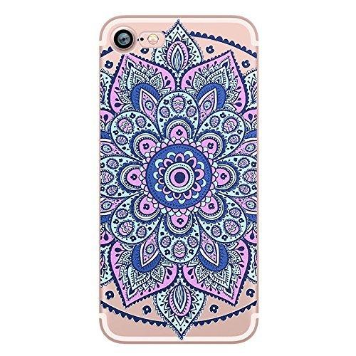 [iPhone 6 / 6S, Glossy Hard Case Case Bumper for Apple Clear Cover - Decor Purple Blue Mandala] (Blue Lotus Farm)