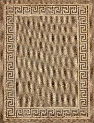 Traditional Brown Indoor Rugs - Outdoor Collection Area Rug - Brown 9' x 12'-Feet, Perfect for Indoor & Outdoor Rugs - Garden and Pool Area, Camping, Picnic Carpet