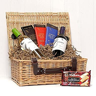 Christmas Hamper Basket.Wine Chocolate Luxury Indulgence Wicker Gift Basket Hamper