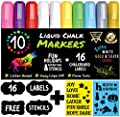 Chalk Markers by Vaci, Pack of 10 + Drawing Stencils + 16 Labels, Premium Liquid Chalkboard Neon Pens, Including Gold, Silver and Extra White Ink , Bullet or Chisel Reversible Tips
