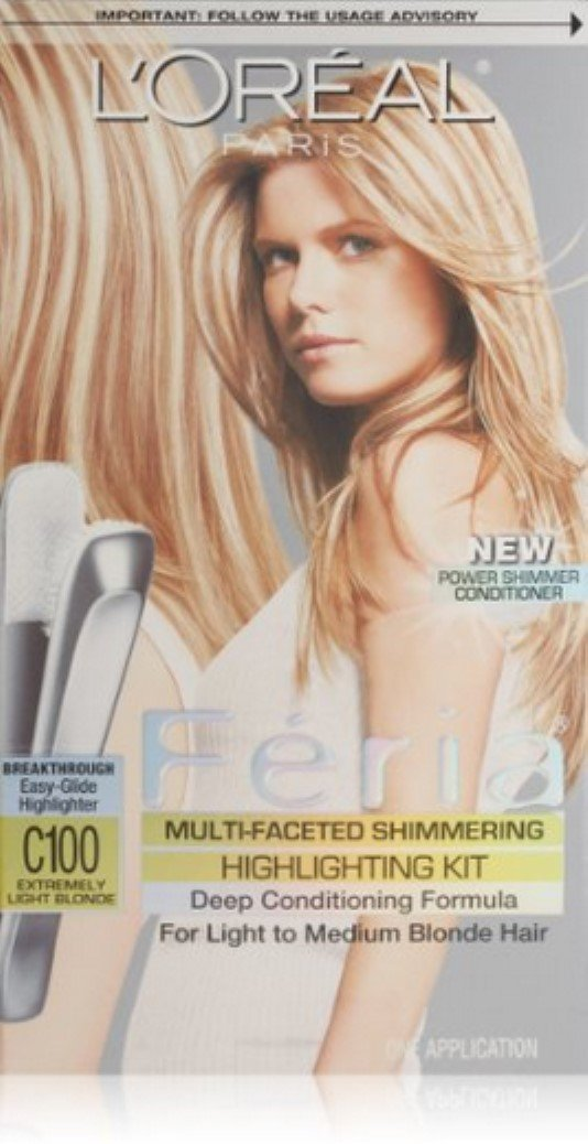 L'Oreal Paris Feria Multi-Faceted Shimmering Highlighting Kit, Extremely Light Blonde [C100] 1 ea (Pack of 12)