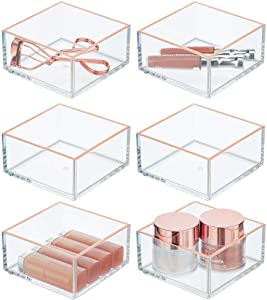 mDesign Plastic Stackable Drawer Organizer for Home Office, Desk Drawer, Shelf or Closet to Hold Staples, Highlighters, Adhesive Tape, Paper Clips, Stamps - Square, 6 Pack - Clear/Rose Gold