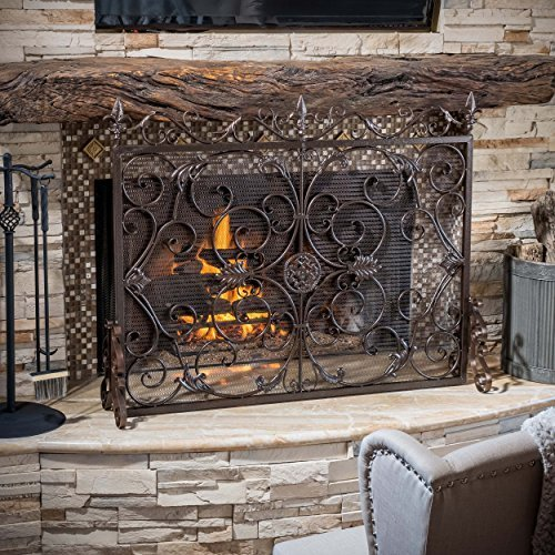 Great Deal Furniture 295450 Darcie Black Brushed Gold Finish Wrought Iron Fireplace Screen,