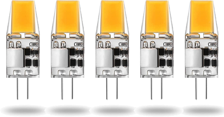 ALASON G4 LED 5W (Bombilla Equivalente halógena de 50W) Blanco cálido 2700K, AC/DC 12V, Paquete de 5