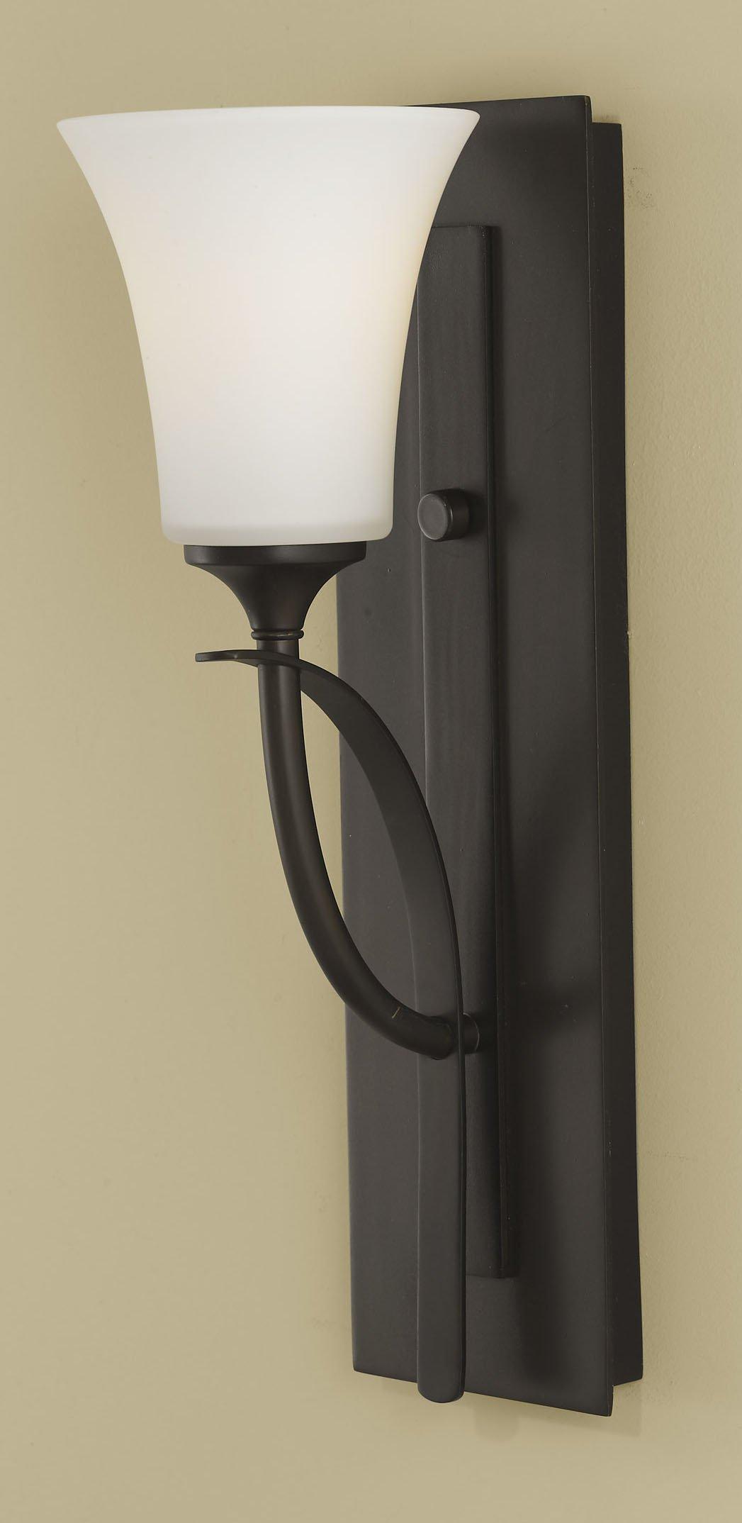 Feiss VS12701-ORB Barrington Glass Wall Sconce Lighting, Bronze, 1-Light (5''W x 16''H) 100watts